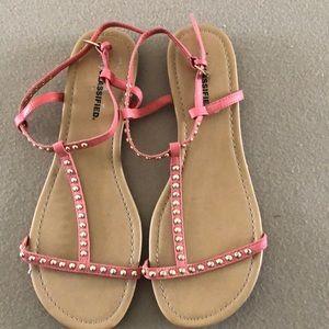 Peach gold button sandals